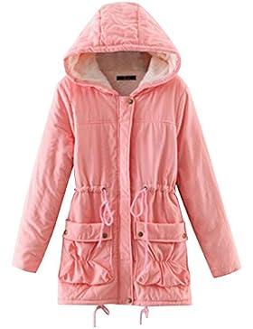 Mujer Espesar Abrigo Largo Parka Casual Con Capucha Chaquetas Jacket
