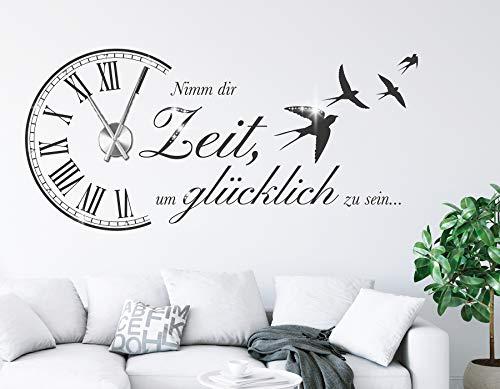 Tjapalo® S Pkm473 Wanduhr Wandtattoo Uhr Wohnzimmer Wandsticker Spruch    Nimm Dir Zeit Um Glücklich Zu Sein Mit Uhrwerk Und Kristallen