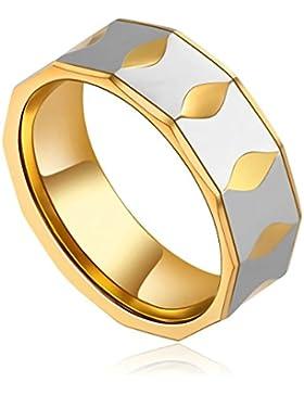 Epinki Herren Wolframcarbid Ringe, 9MM Wolfram Herrenringe Polished Verlobungsringe Bicolor Optik Bandringe Silber...