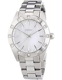 DKNY NY8660 - Reloj analógico de cuarzo para mujer con correa de acero inoxidable, color plateado