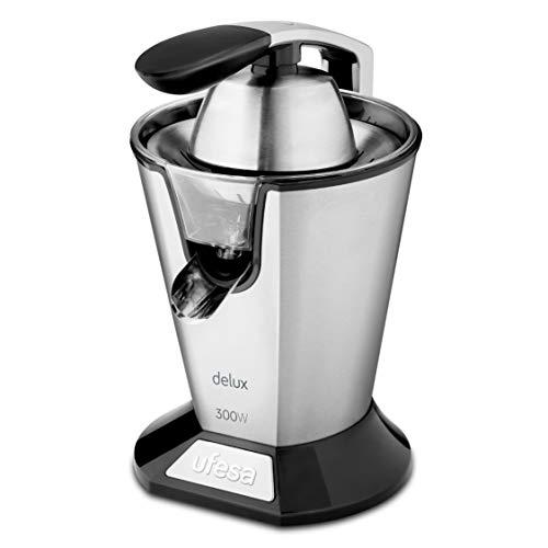 Ufesa EX4950-300W, Vertido continuo, Sistema Antigoteo, Doble sentido de rotación, Doble cono, Filtro en acero inoxidable, Brazo para facilitar la extracción del zumo, Desmontable