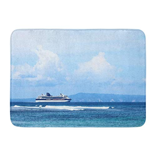 LIS HOME Badematte Strand blau Aktivität Kreuzfahrtschiff im Meer in der Nähe von Island Azure schöne Badezimmer Dekor Teppich -