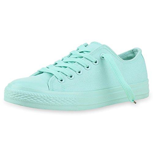 Japado Bequeme Unisex Sneakers Low-Cut Modell Basic Freizeit Schuhe Viele Farben Gr. 36-45 Hellgrün Verde