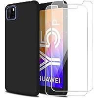 Reshias Funda para Huawei Y5P con [2 Pack] Cristal Templado Protector de Pantalla,Negro Suave Líquido Silicona Protectora Carcasa para Huawei Y5P (5.45 Pulgadas)