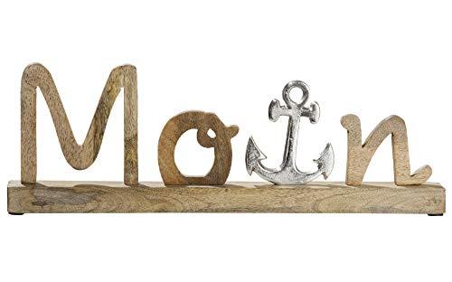 GILDE Schriftzug Moin auf Holzbase Mangoholz, Anker aus Aluminium Länge 43,0 cm Breite 5,0 cm Höhe 14,0 cm 48784