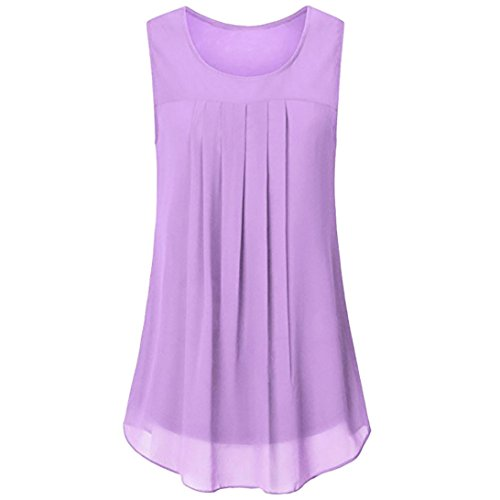 MRULIC Geschenk Zum Muttertag Frauen Sleeveless Chiffon Solide Weste Bluse Tank Tops Camis Kleidung(Violett,EU-38/CN-S)
