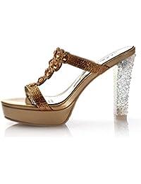a2355687def89 HWF Scarpe donna Pantofole sexy scarpe col tacco alto impermeabile donna  Taiwan pesce bocca sandali femminili