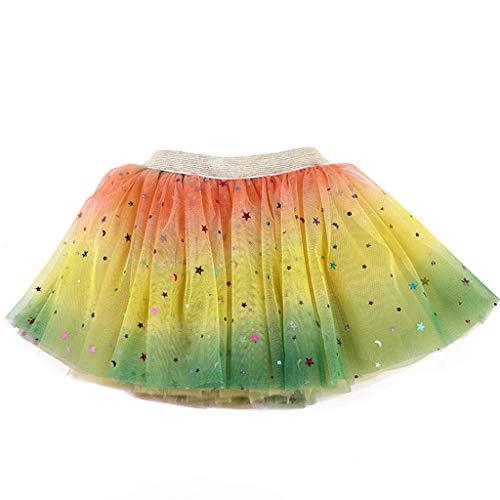 Lazzboy Kleinkind Baby Mädchen Tutu Party Ballett Kostüm Star Pailletten Gaze Regenbogen Röcke Tüllrock Rock Glitter Weichem Tüll-Rock(Gelb,M) -