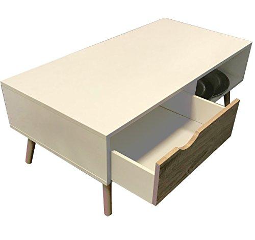 ANGEBOT COUCHTISCH Modern weiß Sägerau-Optik 100 x 50 cm Wooden Wohnzimmertisch TV Beistell Tisch glanz skandinaviesches Design rechteckig weiß Eiche Buche Massivholz Beine Schnäppchen NEU ~ds2M 169
