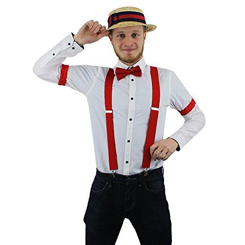 Tanz Guy Kostüm - ILOVEFANCYDRESS Barber Shop Guy Rote Breite HOSENTRÄGER - Einem Strohhut - Einer Roten Fliege - und Roten Strumpfhaltern als ÄRMELHALTER