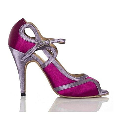 YFF Regalo donne danza scarpe ballo latino ballo tango danza scarpe 8.5cm Purple