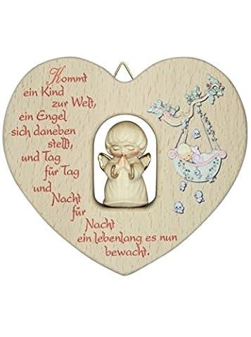 Herz mit geschnitztem Engel alabaster * Spruch Kommt ein..
