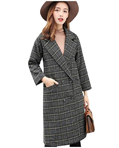 CuteRose Women Plaid Parka Jackets Faux Wool Double Button Worsted Coat Green S Womens Wool Toggle
