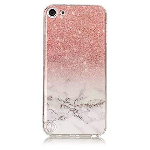 Coque iPod Touch 5 / 6,Coffeetreehouse Marbre Texture Housse Etui TPU Silicone Clear Clair Gel Slim Case Cover Coque Flexible Lisse Etui Ultra Mince Poids Léger Housse Anti Rayure Anti Choc pour iPod Touch 5 / 6-Rouge cinabre + blanc