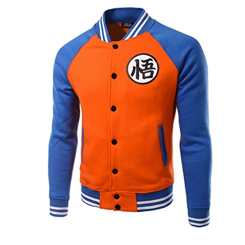 Goku Kapuzen pullover Herren Raglan Baseball Jacke Orange Zip Polyester Sweatshirt Top Kleidung für Erwachsene Cosplay Kostüm (1020 Kostüme)