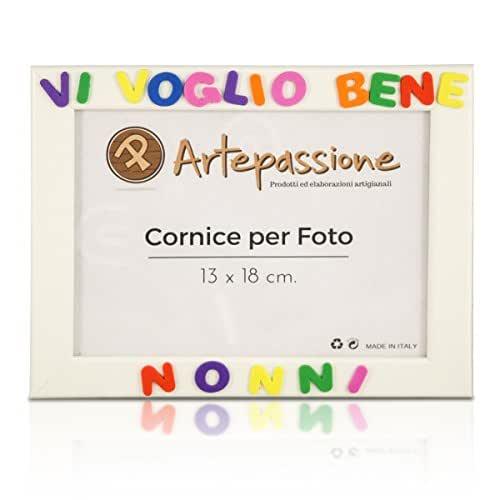 Cornici per foto in legno con la scritta Vi Voglio Bene Nonni, da appoggiare o appendere, misura 13x18 cm Bianca. Ideale per regalo e ricordo.