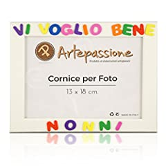 Idea Regalo - Cornici per foto in legno con la scritta Vi Voglio Bene Nonni, da appoggiare o appendere, misura 13x18 cm Bianca. Ideale per regalo e ricordo.