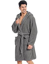 DecoKing Albornoz XS - XXXL Corto Mujer Hombre Unisex Capucha Bata Microfibra Suave Agradable Ligero Fleece