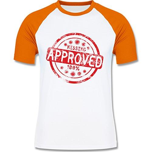 lustige Sprüche - Kissing approved - L140 Männer Raglan Baseball Shirt Weiß/Orange