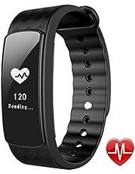 Bracelet Connecté Sport Cardiofréquencemètre, Lintelek Fitness Tracker d'Activité Montre Connectée Etanche IP67 Bluetooth 4.0 - Podomètre, Tracker Sommeil, Calories, Alarme, Notifications pour iPhone iOS Smartphones Android