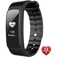 lintelek Armband de remise en forme Fitness Tracker Smart Fitness Montre bracelet Fitness Tracker de la santé podomètre moniteur de fréquence cardiaque Moniteur de Sommeil avec Call/SMS Rappel, noir
