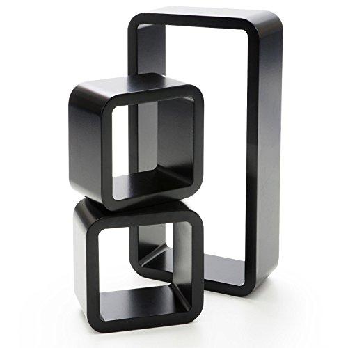 casa pura® Design Wandregal Oxford | Set aus 3 Würfeln | Hochglanz | freischwebend (versteckte Halterung) | gesundheitsfreundliche Materialien | 4 Farben (schwarz) - Würfel 3