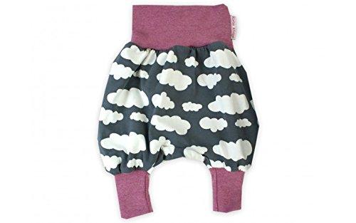 Baby Pumphose 'Wolkenreich' grau Haremshose Jerseyhose Babyhose von Kleine Könige Size 50/56, Farbe Beere-meliert