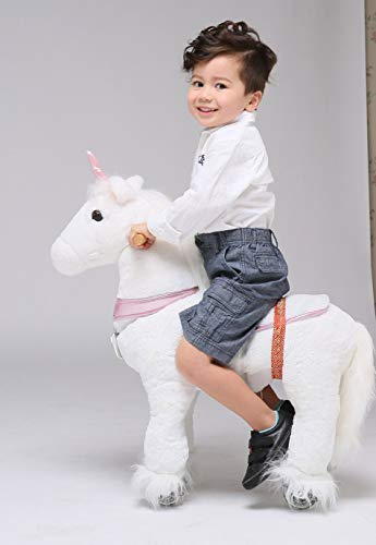 UFREE Horse Great Gift for Girls Action Pony Toy, Ride on for kids aged 3 to 6 (Unicorn with pink horn)