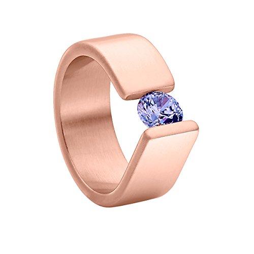 Heideman Ring Damen Maxime aus Edelstahl Rosegold farbend matt Damenring für Frauen mit Swarovski Stein Zirkonia lila im Brillant Schliff 6mm