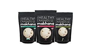 The Healthy Cravings Co Roasted Makhana Snack, Assorted Flavors (Pack of 3)