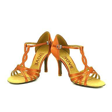 Scarpe da ballo-Personalizzabile-Da donna-Balli latino-americani / Salsa-Tacco su misura-Raso-Altro bronze