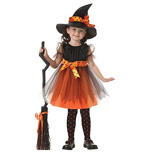 Imagen de m&a disfraz niña para halloween carnaval naviadad bruja maga encantador 2 piezas sombrero+vestido naranja 95 104
