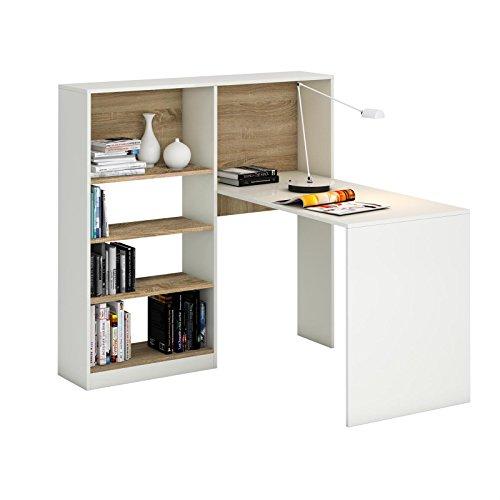 Schreibtisch Eckschreibtisch Winkelschreibtisch FRIDA, in weiß/Sonoma Eiche mit Regal, Kinderschreibtisch