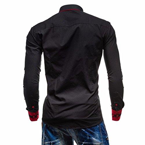 Ai.Moichien Herren Hemd Regular Fit Langarm Hemd Business Casual 5 Farben Shirt Businesshemd aus Baumwolle Schwarz