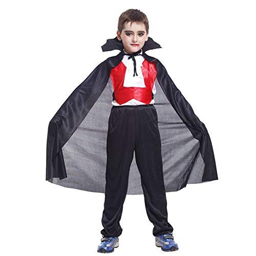 (Zolimx Kinder Halloween Kostüme Cosplay Vampir Performance Kleidung dreiteilige Anzug Jungen Mädchen langärmliges Hemd + Hosen + Umhang Outfits (Schwarz 1, M))