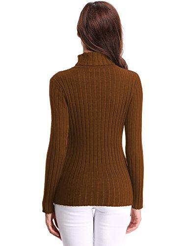 Abollria Strickpullover Damen Basic Feinstrick Langarm Pulli Stretch Pullover für Winter Braun