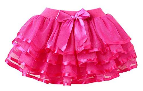 HAPPY CHERRY Mädchen Tüllrock einfarbig Tütü mit Schleife Prinzessin Rock Tutu Kostüm Kleinkind Ballettkleid viele-Schichten Puff Rock Tanz Kleid Ruffle Rock Asiatische Größe 100 - Rose