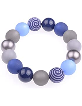 """Armband """"Tamara"""", eleganter Materialmix aus Polaris- und verschiedensten Acylperlen in 14mm, Blau- und Grautöne..."""