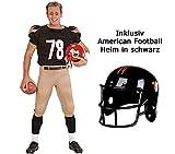 Scherzwelt Kostüm American Football Star Gr. S-XL - Sportkostüm Männer - mit Helm - Football Team Outfit - Quarterback Kostüm (M 50/52)