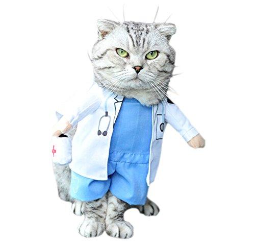 DELEY Haustier Hund Katze Halloween Weihnachten Cosplay Party Fancy Kleid Kostüm Uniform Kleidung Arzt (Arzt Kostüm Pet)