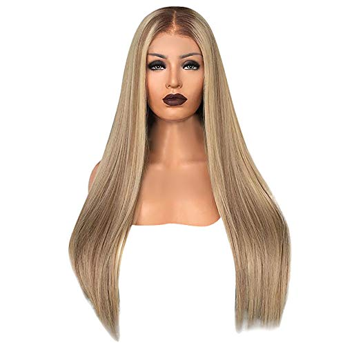 Perruque Blonde Femme feiXIANG Vrai Cheveux Naturel Postiche Cheveux Chignon Blond Perruque Synthétique Bresilienne Postiche Longue avec Wig Cap
