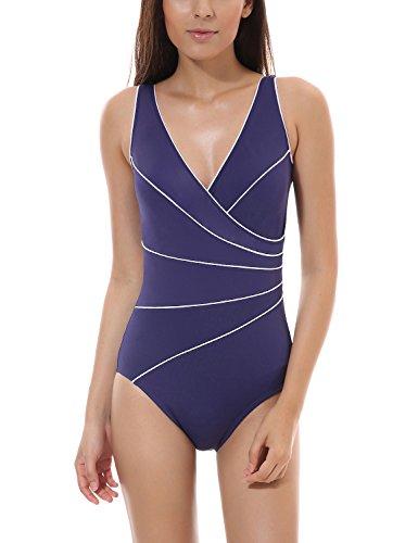 Delimira Damen Große Größen Schwimmanzug - Schale Einteiler Slim Badeanzug Marine (Größen Badeanzug)