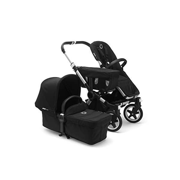 Bugaboo Donkey 2 Mono, 2 In 1 Pram and Pushchair, Extends Into Double Stroller, Black Bugaboo The Bugaboo stroller with the most storage space Extendable side luggage basket & large under-seat basket Convert into a double buggy for baby & toddler or a double pram for twins (extension sets sold separately) 3