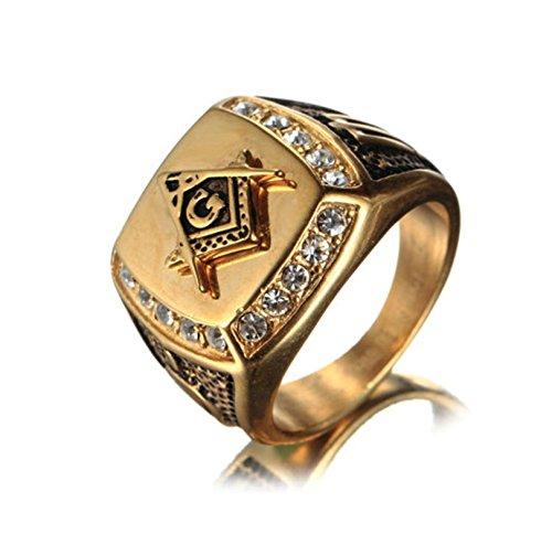 Bishilin Edelstahl Herren Ring Edelstahlring Brillant Kristall Masonic Freimaurer Freundschaftsring Gold Schwarz Ring Gr.57 (18.1)
