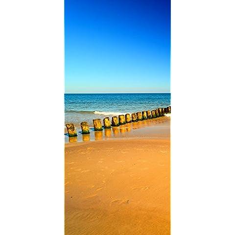 Posterdepot Papel pintado para puerta puerta Póster playa de arena en naranja–Mar–Cielo Azul–Tamaño 93x 205cm, 1pieza, ktt0699