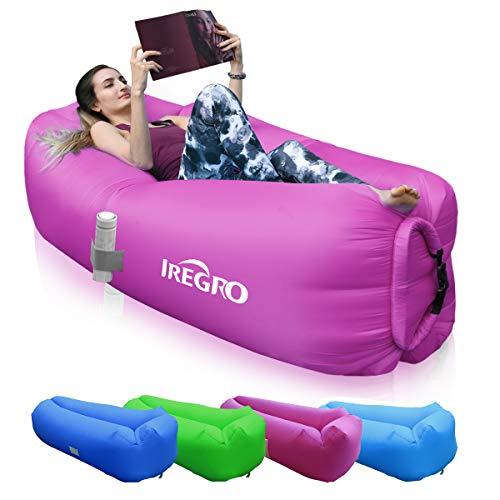 *IREGRO aufblasbares Sofa New Version tragbarer Sitzsack wasserdichtes Aufblasbare Couch air Lounger Outdoor Sofa für Camping(lila)*