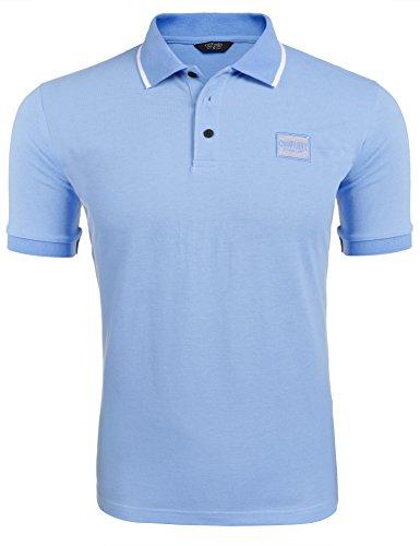 COOFANDY Poloshirt Herren Kurzarm Einfarbig Sommershirt Haiikragen Polo Kragen Shirt für Herren (Kontrast Kragen-kurzarm-polo-shirt)