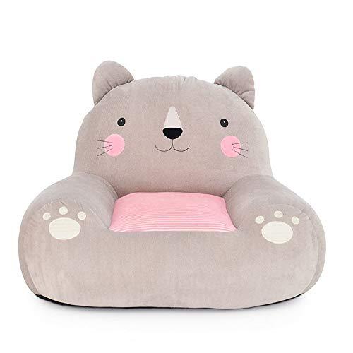 PUDDINGT® Kindersessel, Kindersofa Cartoon Mädchen und Jungen Geburtstagsgeschenk Spielzeug Faul Gepolstert Nettes Baby Kleines Sofa Sitz Kind Stuhl,Gray