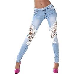 ZKOO Hole elastico Donne Leggings Brevi Pantaloni in Denim Shorts Jeans Strappati S