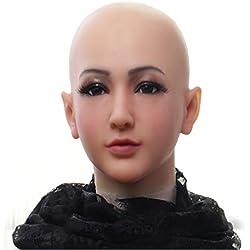 Ajusen Máscaras masculinas reales Silicona realista Mascarada de cabeza completa para crossdresser cosplayer Mascara hombre Fiesta de disfraces de halloween